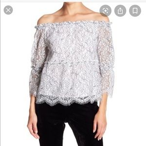 Cupcakes Cashmere Lace Off-The-Shoulder Blouse 68I